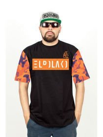 Koszulka EL POLAKO CAMO ORANGE SLEEVES czarna